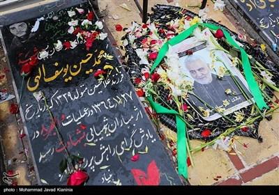 مزار سپهبد شهید حاج قاسم سلیمانی در گلزار شهدای کرمان قبل از خاکسپاری