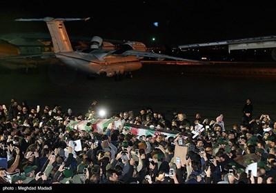 ورود پیکر سپهبد شهید حاج قاسم سلیمانی به فرودگاه مهرآباد تهران
