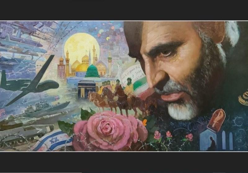 نقاشی هنرمند روس از چهره سردار سلیمانی