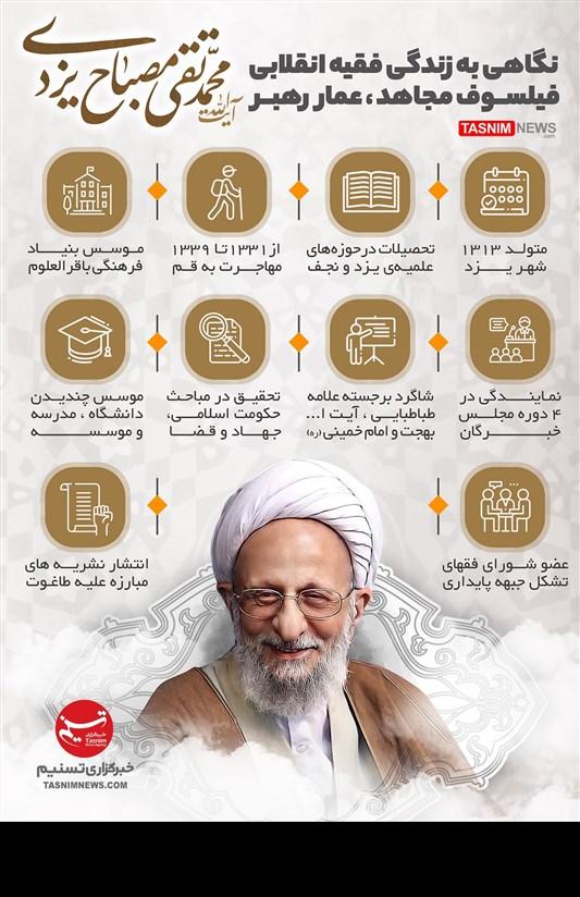 اینفوگرافیک/ نگاهی به زندگی فقیه انقلابی فیلسوف مجاهد، آیت الله علامه محمدتقی مصباح یزدی