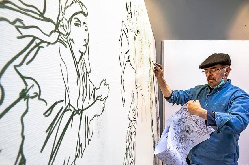 تصاویری از کارگاه نقاشی «در رثای سیمرغ تجلی»/ نمایش هنری از یک عمر فعالیت شهید سلیمانی