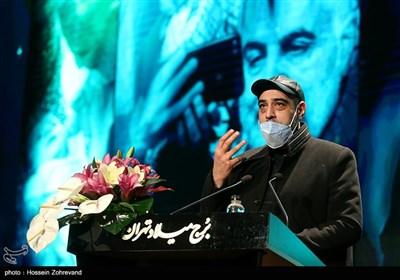 امیریل ارجمند در مراسم رونمایی از مجسمه سپهبد شهید حاج قاسم سلیمانی