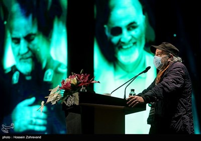 سیروس مقدم در مراسم رونمایی از مجسمه سپهبد شهید حاج قاسم سلیمانی