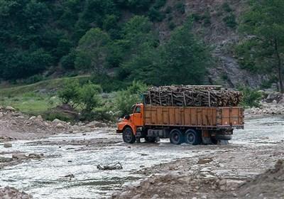 سوء استفاده قاچاقچیان چوب از شرایط سیلاب در استان مازندران+ تصویر