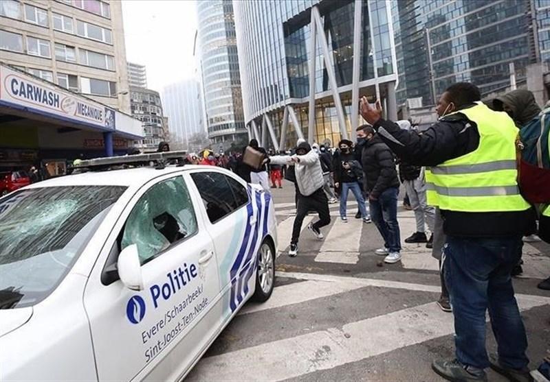 زد و خورد پلیس بلژیک با معترضان به مرگ یک جوان سیاهپوست