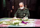 سردار علی فدوی جانشین فرمانده کل سپاه پاسداران در مراسم تشییع پیکر2 شهید گمنام دوران دفاع مقدس