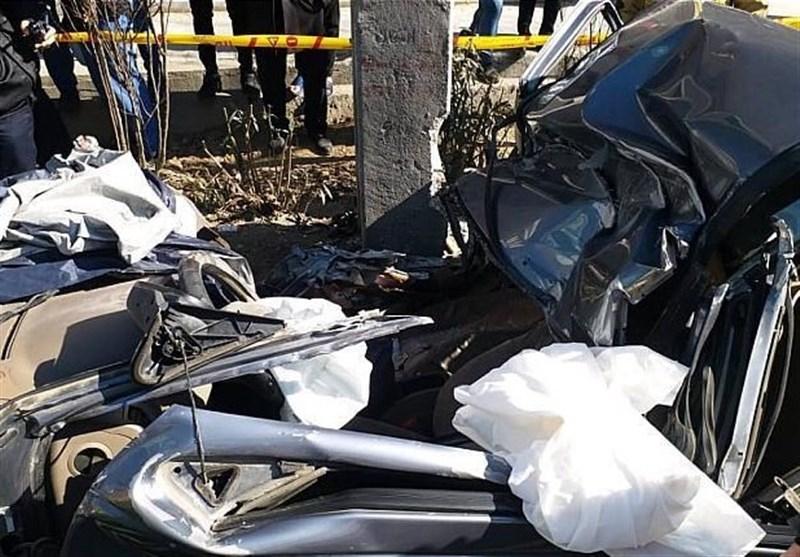 مرگ راننده پژو 405 میان خودروی متلاشی شده + تصاویر