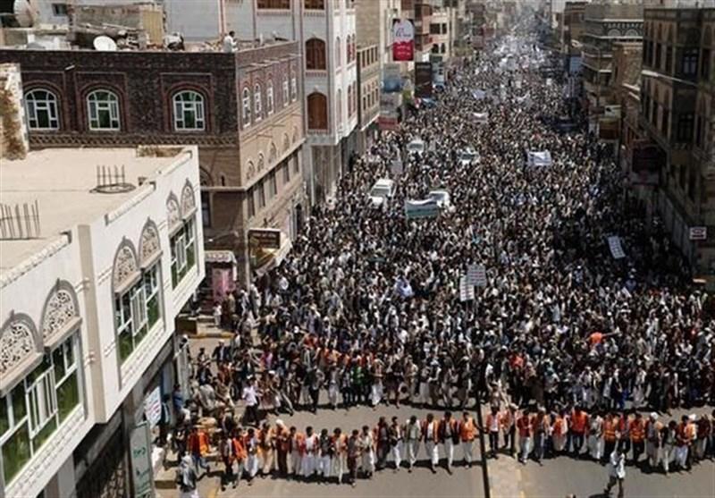 یمن|تظاهرات گسترده مردم در استانهای مختلف علیه متجاوزان/ سعودی و آمریکا نماد واقعی تروریسم هستند+فیلم