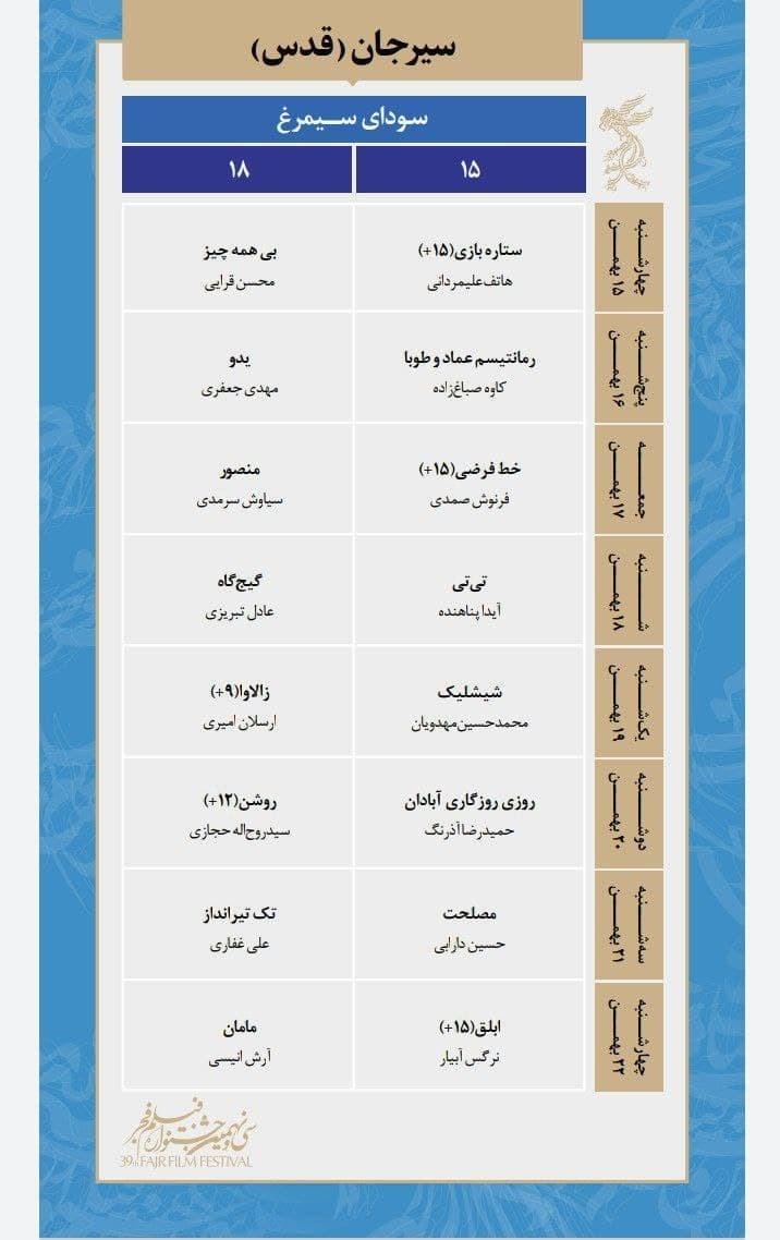 فیلم , سی و نهمین جشنواره فیلم فجر , استان کرمان ,