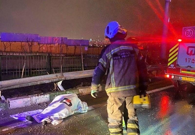 تهران| واژگونی مرگبار پژو 206 در بلوار ارتش + تصاویر