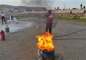 مانور آموزشی اطفاء حریق در روستای رمچاه قشم برگزار شد + فیلم