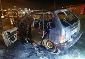 تهران| آتشسوزی پراید و واژگونی پژو 405 پس از برخورد شدید با یکدیگر + تصاویر