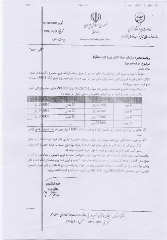 قیمت تخم مرغ , وزارت جهاد کشاورزی ,