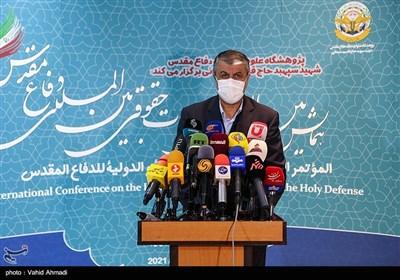 محمد اسلامی وزیر راه و شهرسازی در همایش مطالبات حقوقی بینالمللی دفاع مقدس