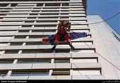 مانور آتشنشانی تهران در هتل پارسیان آزادی