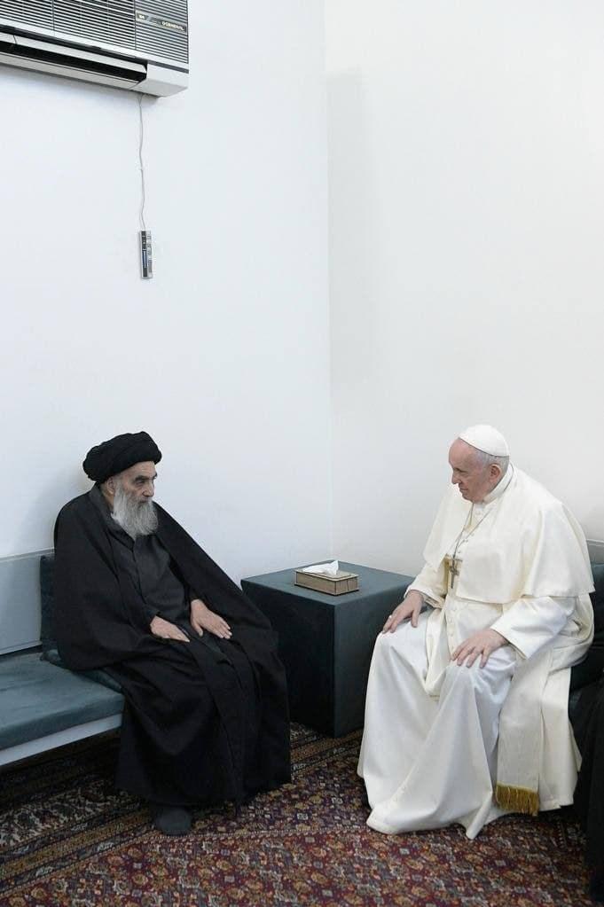 دیدار تاریخی آیت الله سیستانی و پاپ واتیکان +عکس