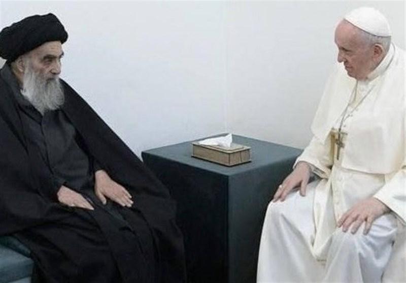 دیدار تاریخی آیتالله سیستانی و پاپ در نجف اشرف+ویدئو و تصاویر