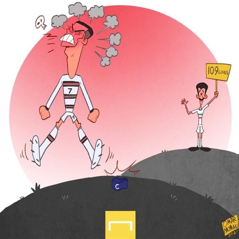 کاریکاتور عمر مومنی در مورد رونالدو و علی دایی- اخبار فوتبال جهان - اخبار  ورزشی تسنیم | Tasnim