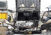 آتشسوزی کامیونت ایسوزو + تصاویر