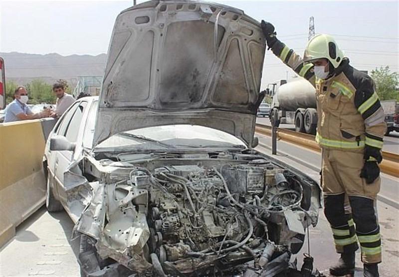 نجات معجزهآسای راننده پژو 405 از میان شعلههای آتش + تصاویر