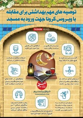 اینفوگرافیک/ توصیههای مهمبهداشتی برای مقابله با ویروسکرونا در ماهرمضان جهت ورود به مسجد