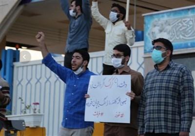 زنجیره انسانی دانشجویان مقابل سایت نطنز/دانشجویان خواستار توقف تمام تعهدات هستهای شدند