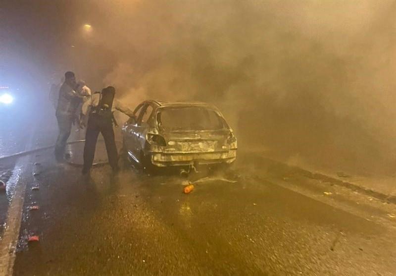 جزئیات آتشسوزی خودروی پژو 207 در تونل پردیس + تصاویر