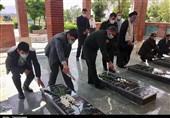 آئین غبار روبی و عطرافشانی مزار شهدا در سنندج به روایت تصویر