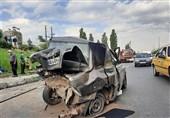 مچاله شدن پراید پس از تصادف شدید با پژو 206 + تصاویر