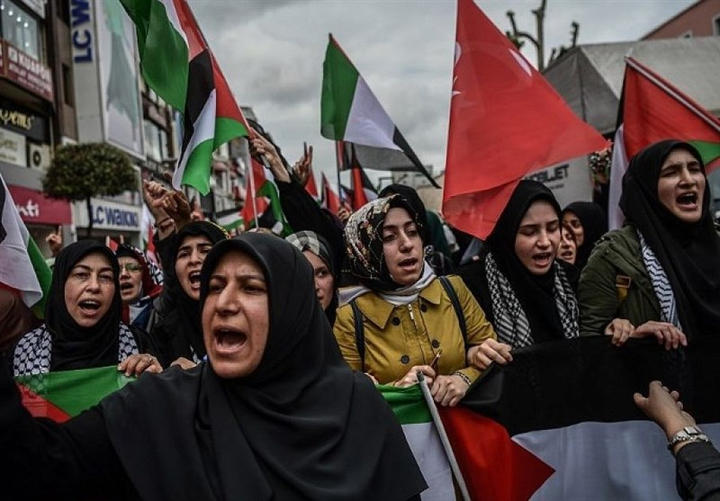 Hundreds Rally near Israeli Consulate in Istanbul in Support of Palestinians (+Video)