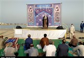 برپایی نماز عید فطر بوشهر در کنار ساحل خلیجفارس به روایت تصویر