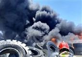 آتشسوزی محل نگهداری ضایعات لاستیک + فیلم و تصاویر