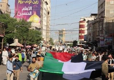 راهپیمایی گسترده در کربلای معلی برای همبستگی با ملت فلسطین
