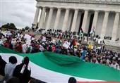 مظاهرة حاشدة فی واشنطن تندیداً بجرائم الکیان الصهیونی بحق الفلسطینیین