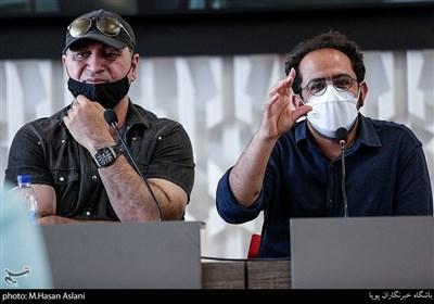 احسان عبدی پور و حمید فرخ نژاد در نشست خبری فیلم (میجر) در ششمین روز سیوهشتمین جشنواره جهانی فیلم فجر در پردیس سینمایی چارسو