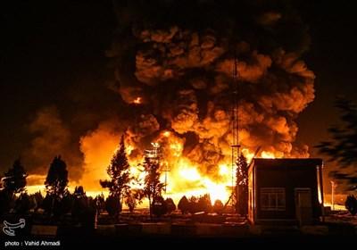 آتش سوزی در پالایشگاه تهران
