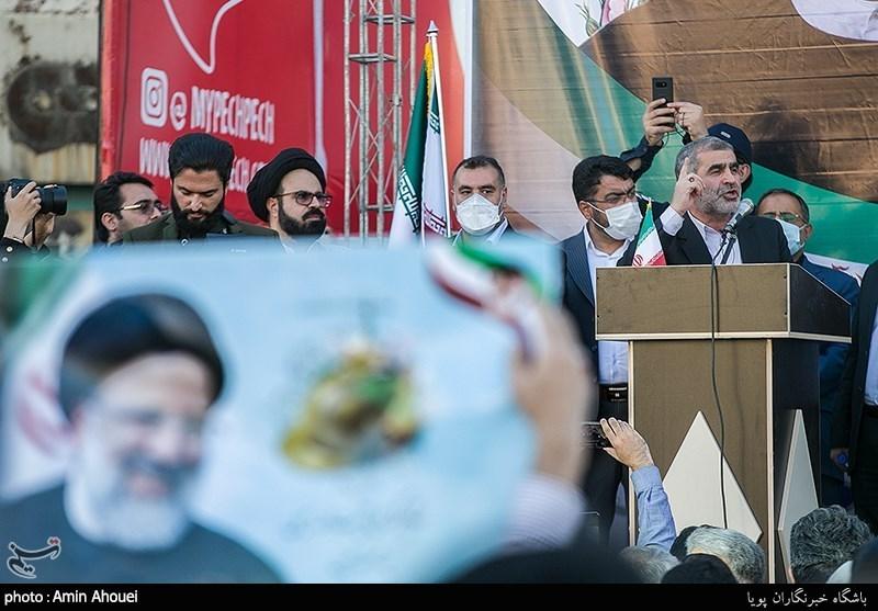 سخنرانی علی نیکزاد در گردهمایی حامیان رئیسی در میدان ولیعصر(عج)