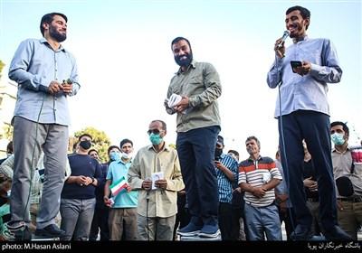 مداحی عبدالرضا هلالی، مهدی رسولی و میثم مطیعی درپویش دعوت حضور میدان راه آهن تهران