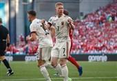 یورو 2020| بلژیک با دیبروینه بازی باخته را برد و صعود کرد/ کار دانمارک سخت شد
