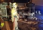 واژگونی خاور پس از تصادف شدید با 2 پراید + تصاویر