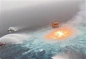 آتشسوزی گسترده روی آب پس از انفجار لوله گاز در نزدیکی خلیج مکزیک+فیلم