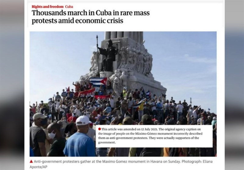 Western Media Use Images of Pro-Government Rally, to Illustrate Cuban Unrest