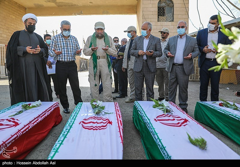 ورود پیکر 43 شهید تازه تفحص شده از مرز شلمچه