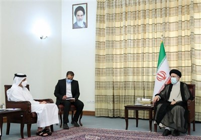 آیة الله رئیسی یستقبل وزیر الخارجیة القطری