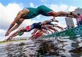 المپیک 2020 توکیو| خطر از بیخ گوش شناگران سهگانه گذشت! + عکس