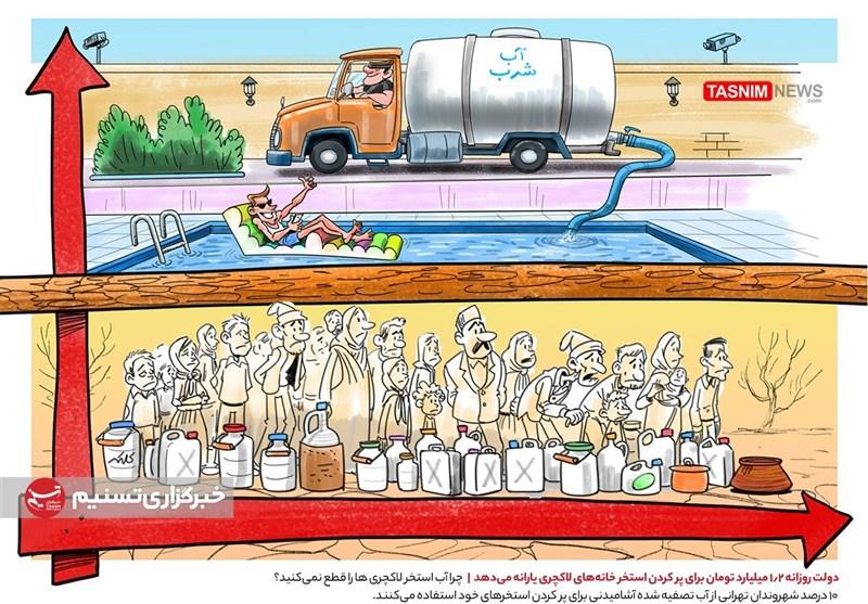 کاریکاتور/ دولت روزانه 1.2 میلیارد تومان برای پر کردن استخر خانههای لاکچری یارانه میدهد!