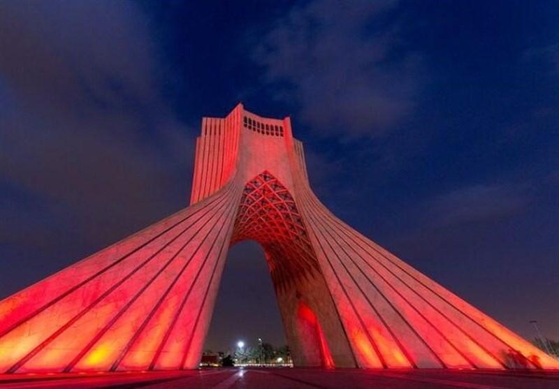 برج آزادی قرمز شد