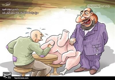 کاریکاتور/ با تدبیر دولت امید، مرغ در3 ماهه امسال 105 درصد گران شد