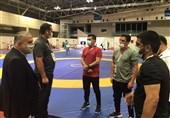 المپیک 2020 توکیو  حضور مسئولین کمیته ملی المپیک در سالن تمرین مسابقات کشتی