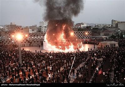مراسم عزاداری وخیمه سوزان عصر عاشورا در میدان امام حسین (ع)